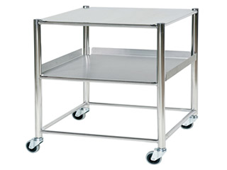Surgical Trolley - 1 Stainless Steel Shelf & 1 Tray - Length 860mm