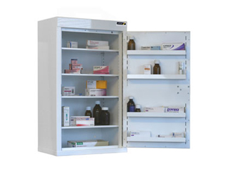 Controlled Drug Cabinet 127 Litre with 4 shelves/4 trays, one door