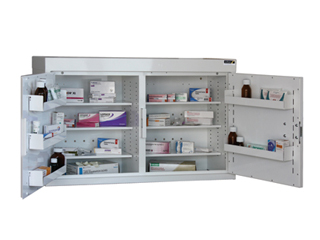 Medicine Cabinet 180 Litre with 6 shelves & 6 door trays, two doors