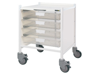 Medi-Trays MT15 Trolley - Four Single Clear Trays