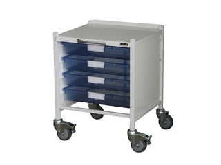 Medi-Trays MT15 Trolley - Four Single Blue Trays