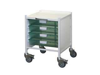 Medi-Trays MT15 Trolley - Four Single Green Trays