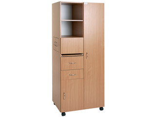 Anti-Ligature Wardrobe Cutout In Partition With Digital Lock - Beech Finish
