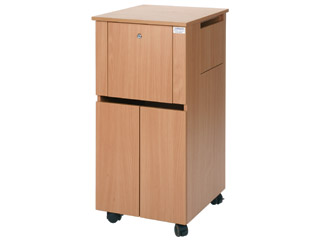 Bedside Locker Cabinet with Integral Drug Cabinet - Beech Finish