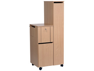Bedside Locker with Integral Wardrobe & POD - 740mm Width - Beech Finish