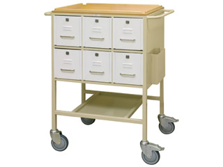 Drug Trolley with 12 Lockable Drawers (6 each side)