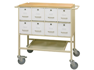Drug Trolley with 16 Lockable Drawers (8 each side)