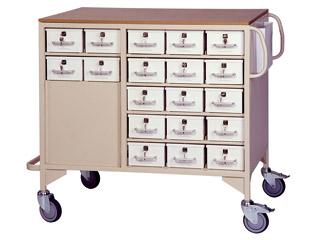 Drug Trolley with 38 Lockable Drawers (19 Each Side) & 2 Storage Drawers