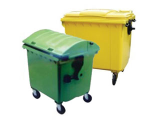 Wheeled Bin 1100 Litre with Green Flat Lid